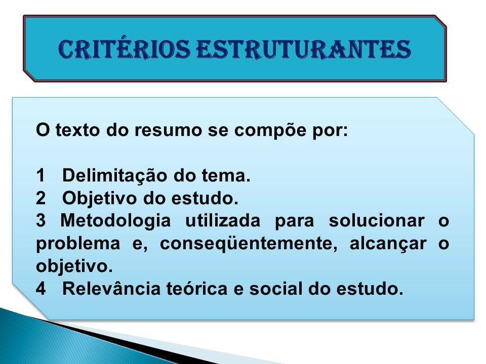 O texto do resumo se compõe por: 1 Delimitação do tema. 2 Objetivo do estudo. 3 Metodologia utilizada para solucionar o problema e, conseqüentemente,