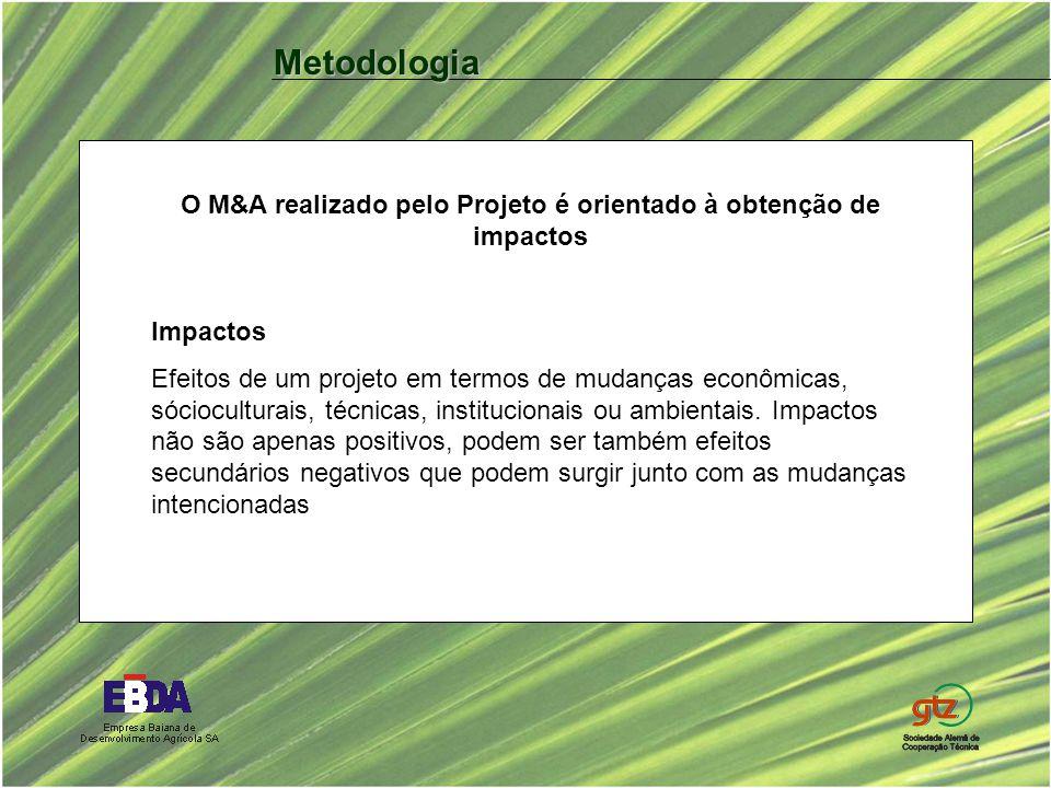 O M&A realizado pelo Projeto é orientado à obtenção de impactos Impactos Efeitos de um projeto em termos de mudanças econômicas, sócioculturais, técni