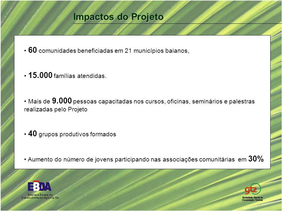 60 comunidades beneficiadas em 21 municípios baianos, 15.000 famílias atendidas. Mais de 9.000 pessoas capacitadas nos cursos, oficinas, seminários e