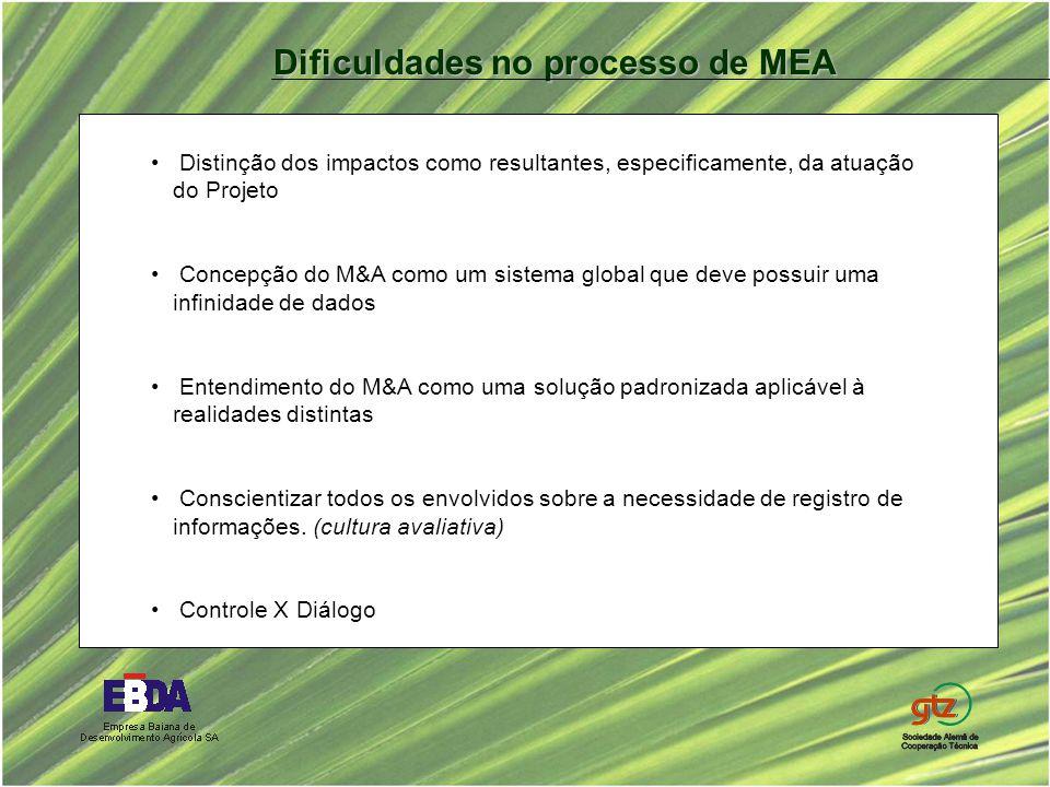 Distinção dos impactos como resultantes, especificamente, da atuação do Projeto Concepção do M&A como um sistema global que deve possuir uma infinidade de dados Entendimento do M&A como uma solução padronizada aplicável à realidades distintas Conscientizar todos os envolvidos sobre a necessidade de registro de informações.