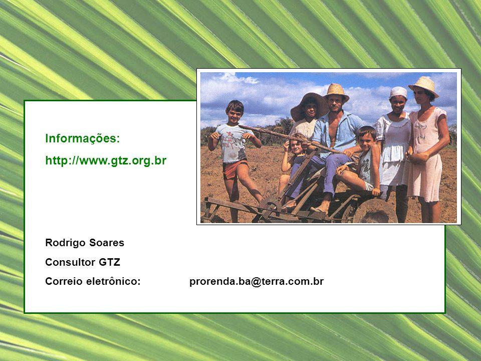 Informações: http://www.gtz.org.br Rodrigo Soares Consultor GTZ Correio eletrônico: prorenda.ba@terra.com.br