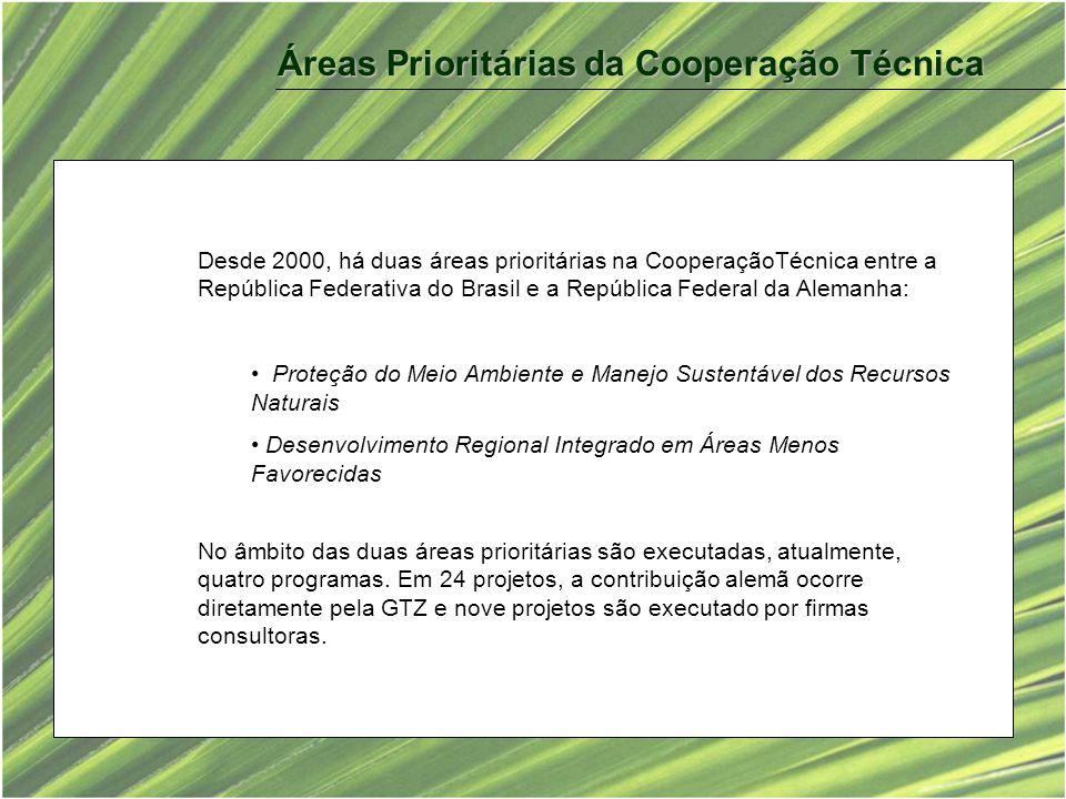Desde 2000, há duas áreas prioritárias na CooperaçãoTécnica entre a República Federativa do Brasil e a República Federal da Alemanha: Proteção do Meio