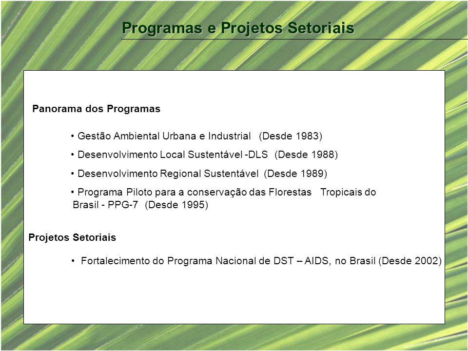 Gestão Ambiental Urbana e Industrial (Desde 1983) Desenvolvimento Local Sustentável -DLS (Desde 1988) Desenvolvimento Regional Sustentável (Desde 1989) Programa Piloto para a conservação das Florestas Tropicais do Brasil - PPG-7 (Desde 1995) Projetos Setoriais Fortalecimento do Programa Nacional de DST – AIDS, no Brasil (Desde 2002) Panorama dos Programas Programas e Projetos Setoriais