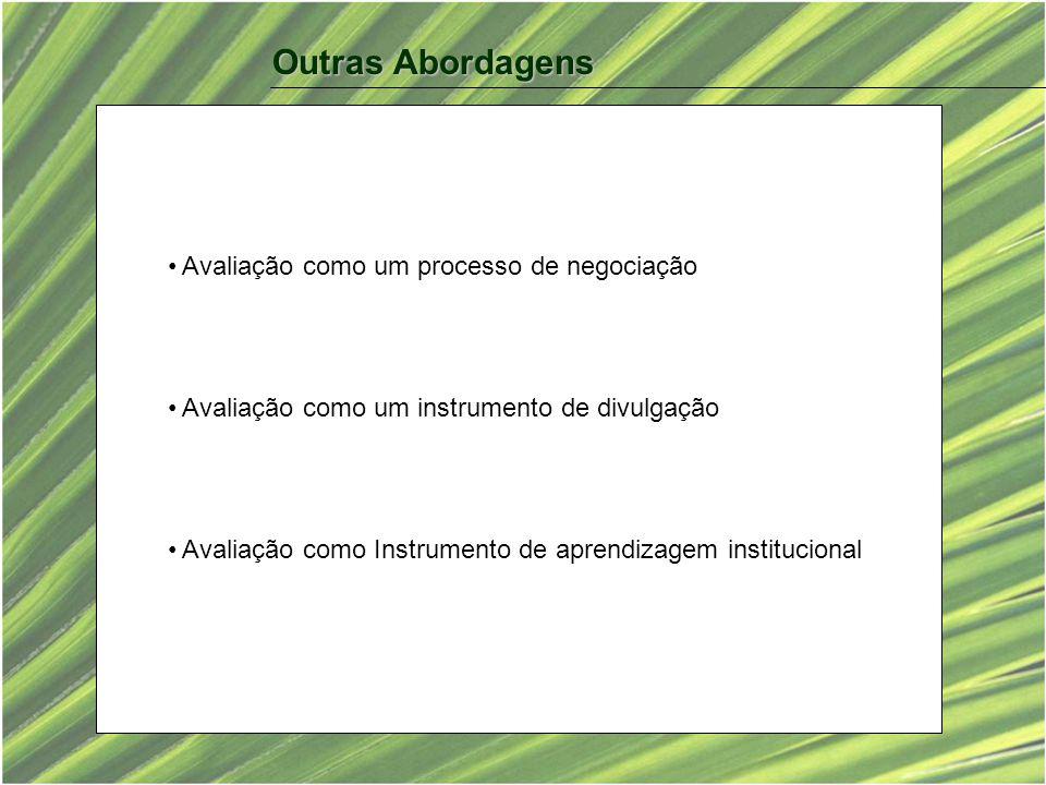 Outras Abordagens Avaliação como um processo de negociação Avaliação como um instrumento de divulgação Avaliação como Instrumento de aprendizagem institucional
