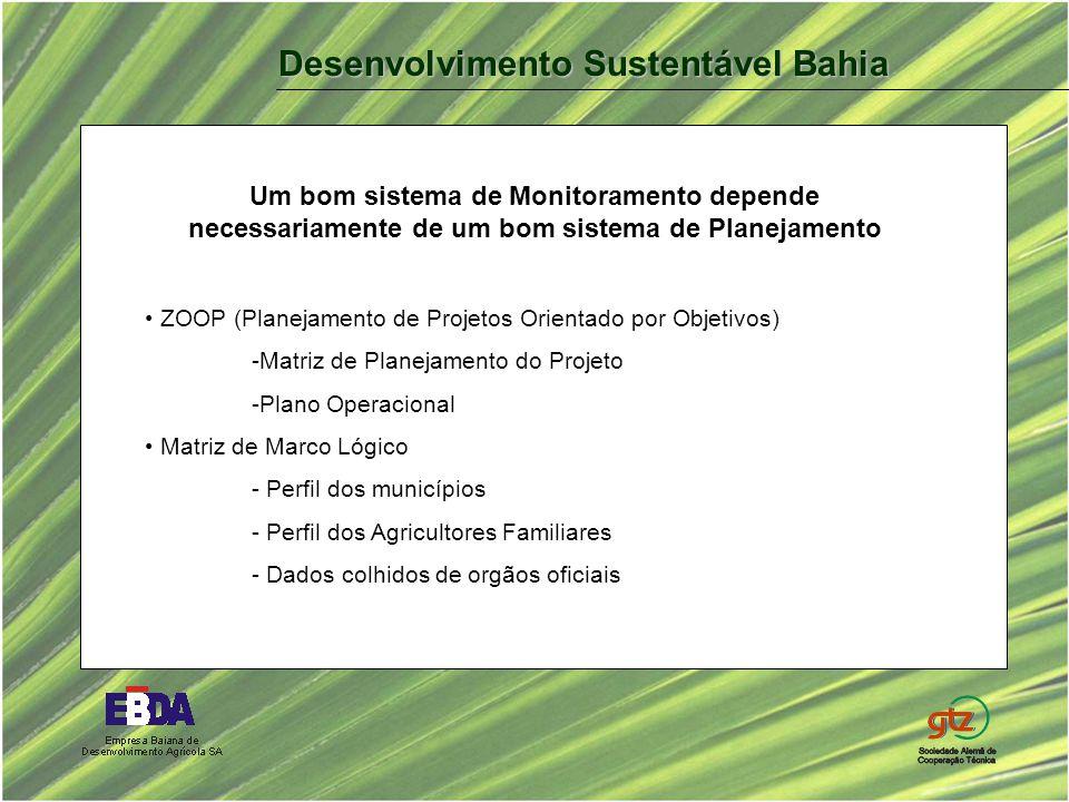 Um bom sistema de Monitoramento depende necessariamente de um bom sistema de Planejamento ZOOP (Planejamento de Projetos Orientado por Objetivos) -Matriz de Planejamento do Projeto -Plano Operacional Matriz de Marco Lógico - Perfil dos municípios - Perfil dos Agricultores Familiares - Dados colhidos de orgãos oficiais