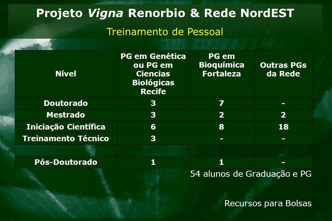 Projeto Vigna Renorbio & Rede NordEST Treinamento de Pessoal Nível PG em Genética ou PG em Ciencias Biológicas Recife PG em Bioquímica Fortaleza Outra