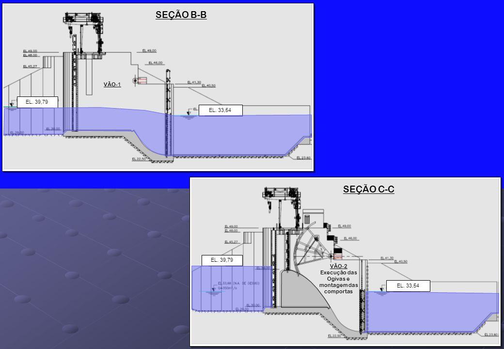 SEÇÃO B-B EL. 33,54 EL. 39,79 SEÇÃO C-C EL. 33,54 EL. 39,79 VÃO-2 Execução das Ogivas e montagem das comportas VÃO-1