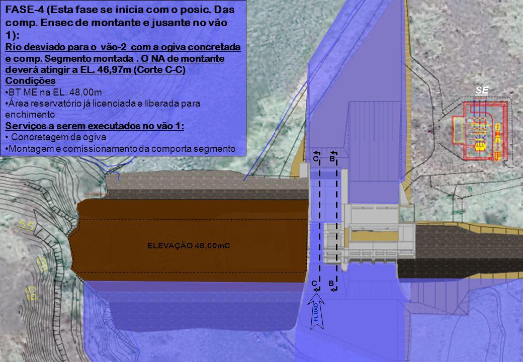 FASE-4 (Esta fase se inicia com o posic. Das comp. Ensec de montante e jusante no vão 1): Rio desviado para o vão-2 com a ogiva concretada e comp. Seg