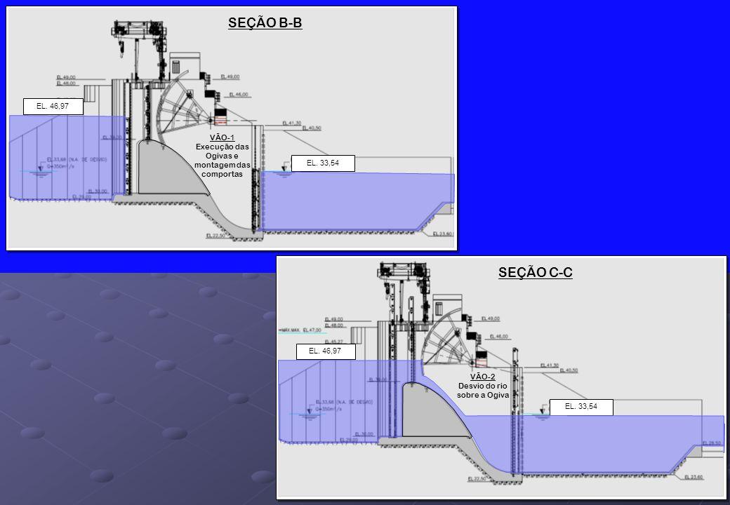 SEÇÃO B-B EL. 33,54 EL. 46,97 VÃO-1 Execução das Ogivas e montagem das comportas SEÇÃO C-C EL. 33,54 EL. 46,97 VÃO-2 Desvio do rio sobre a Ogiva