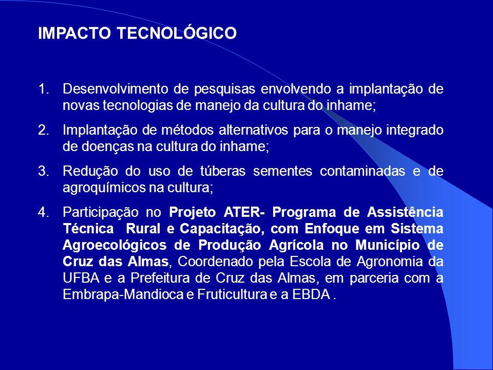 IMPACTO TECNOLÓGICO 1.Desenvolvimento de pesquisas envolvendo a implantação de novas tecnologias de manejo da cultura do inhame; 2.Implantação de métodos alternativos para o manejo integrado de doenças na cultura do inhame; 3.Redução do uso de túberas sementes contaminadas e de agroquímicos na cultura; 4.Participação no Projeto ATER- Programa de Assistência Técnica Rural e Capacitação, com Enfoque em Sistema Agroecológicos de Produção Agrícola no Município de Cruz das Almas, Coordenado pela Escola de Agronomia da UFBA e a Prefeitura de Cruz das Almas, em parceria com a Embrapa-Mandioca e Fruticultura e a EBDA.