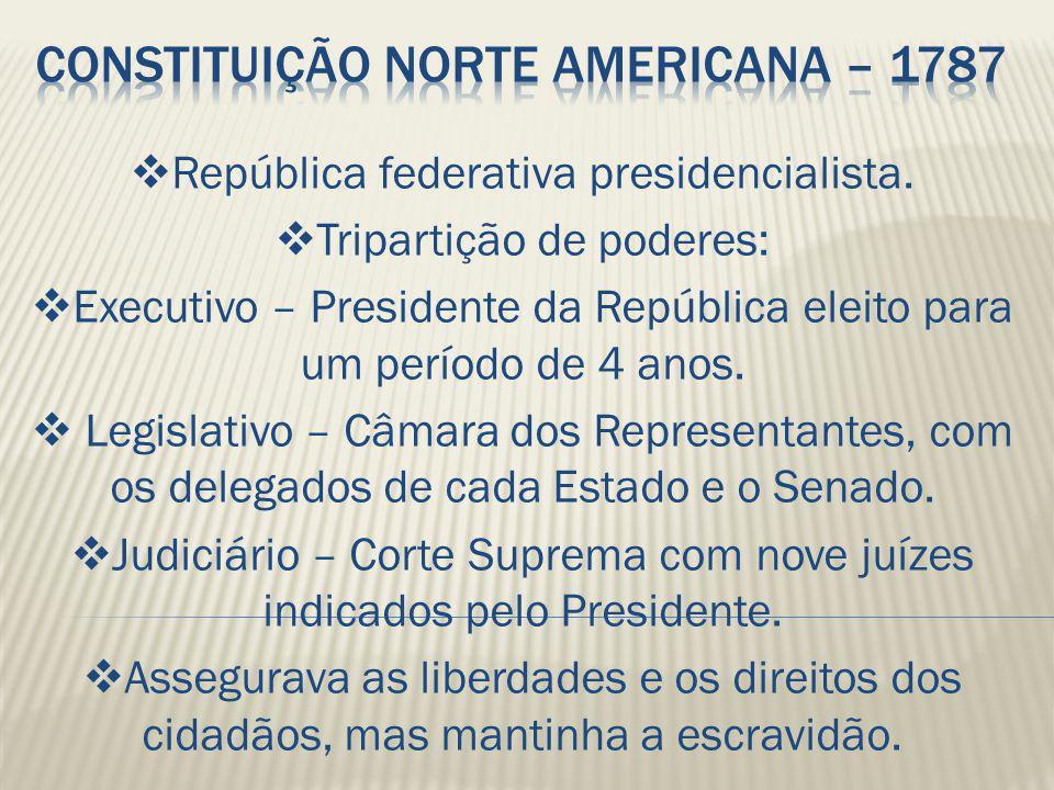  República federativa presidencialista.  Tripartição de poderes:  Executivo – Presidente da República eleito para um período de 4 anos.  Legislati