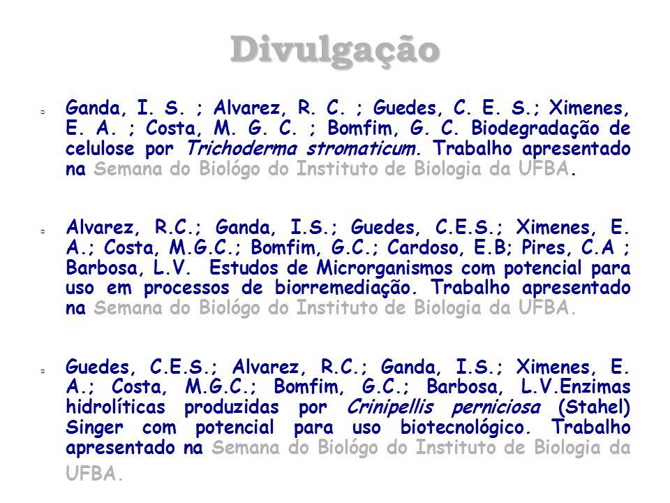 Divulgação  Ganda, I. S. ; Alvarez, R. C. ; Guedes, C. E. S.; Ximenes, E. A. ; Costa, M. G. C. ; Bomfim, G. C. Biodegradação de celulose por Trichode