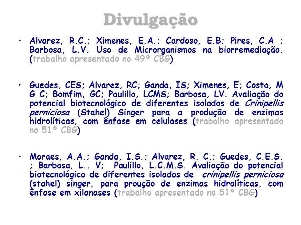 Divulgação Alvarez, R.C.; Ximenes, E.A.; Cardoso, E.B; Pires, C.A ; Barbosa, L.V. Uso de Microrganismos na biorremediação. (trabalho apresentado no 49