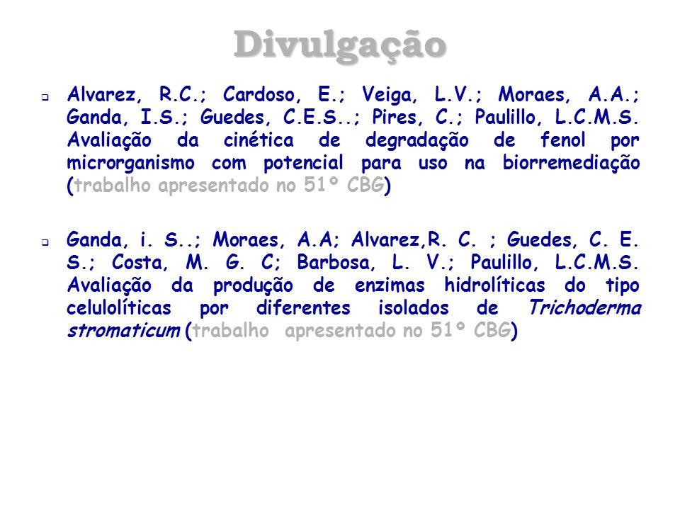 Divulgação  Alvarez, R.C.; Cardoso, E.; Veiga, L.V.; Moraes, A.A.; Ganda, I.S.; Guedes, C.E.S..; Pires, C.; Paulillo, L.C.M.S. Avaliação da cinética