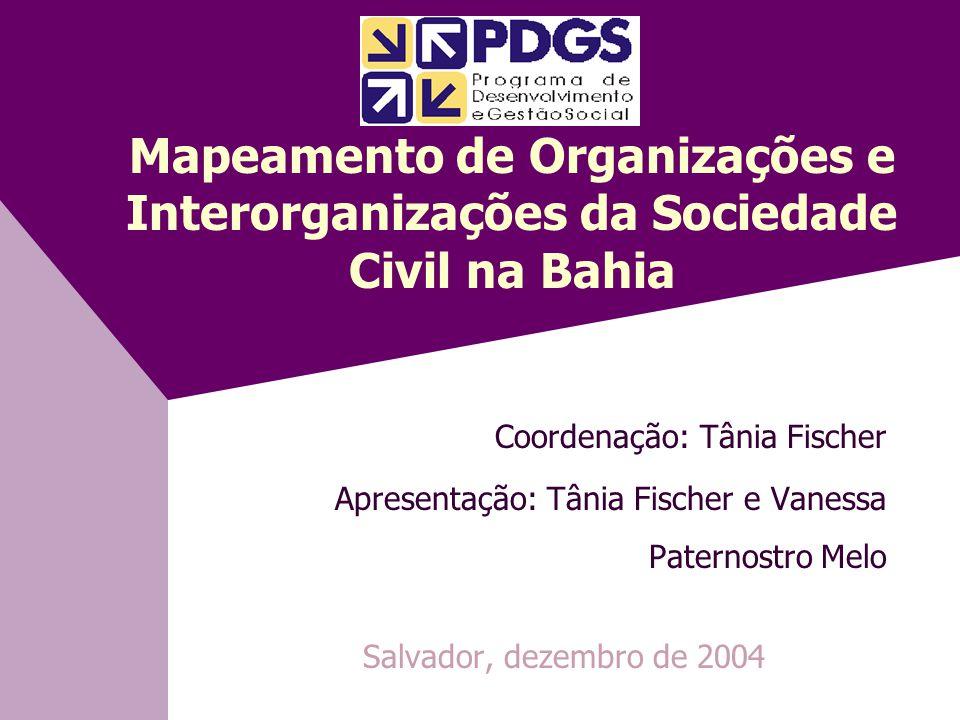Mapeamento de Organizações e Interorganizações da Sociedade Civil na Bahia Coordenação: Tânia Fischer Apresentação: Tânia Fischer e Vanessa Paternostro Melo Salvador, dezembro de 2004