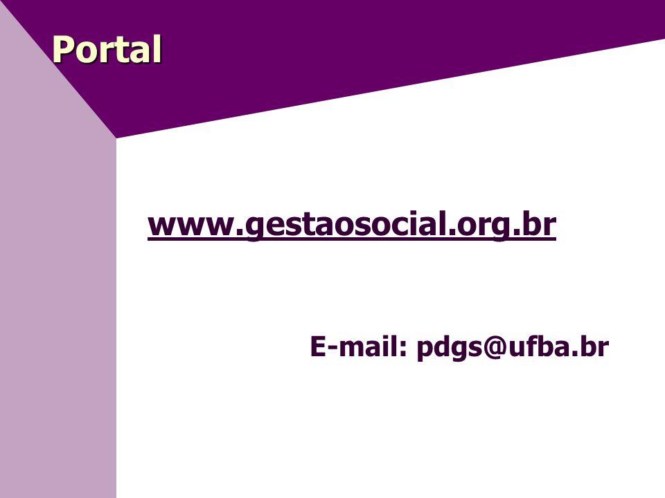 Portal www.gestaosocial.org.br E-mail: pdgs@ufba.br