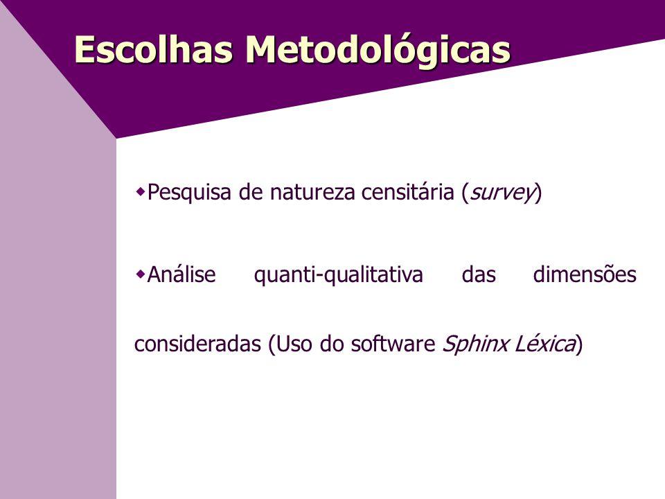 Escolhas Metodológicas  Pesquisa de natureza censitária (survey)  Análise quanti-qualitativa das dimensões consideradas (Uso do software Sphinx Léxica)