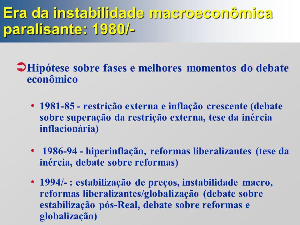 Era da instabilidade macroeconômica paralisante: 1980/-  Hipótese sobre fases e melhores momentos do debate econômico 1981-85 - restrição externa e i