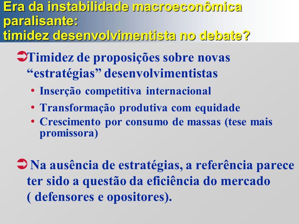 """Era da instabilidade macroeconômica paralisante: timidez desenvolvimentista no debate?  Timidez de proposições sobre novas """"estratégias"""" desenvolvime"""