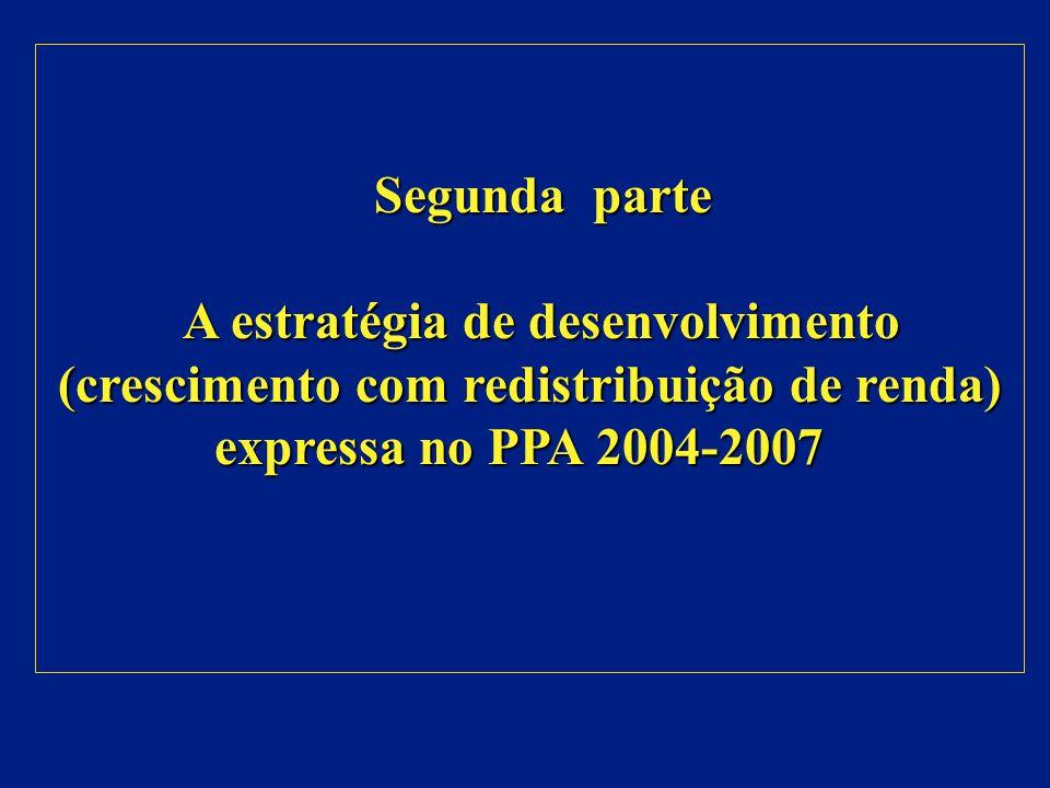 Segunda parte Segunda parte A estratégia de desenvolvimento (crescimento com redistribuição de renda) expressa no PPA 2004-2007 A estratégia de desenvolvimento (crescimento com redistribuição de renda) expressa no PPA 2004-2007