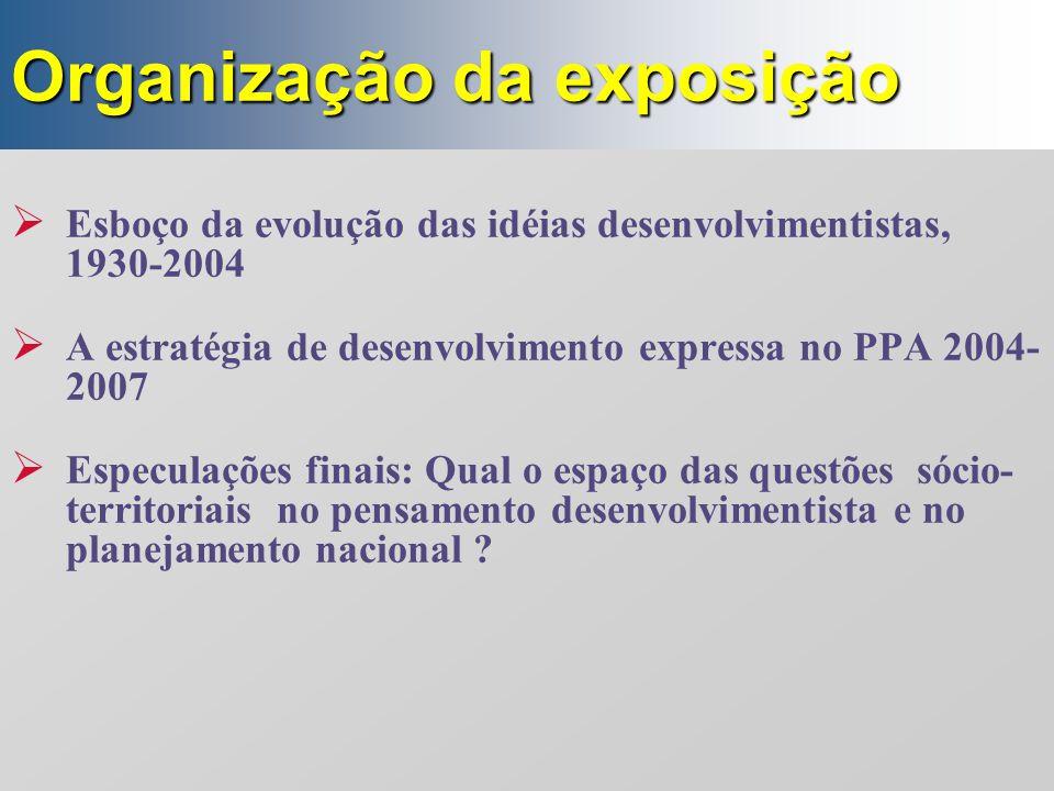 Organização da exposição  Esboço da evolução das idéias desenvolvimentistas, 1930-2004  A estratégia de desenvolvimento expressa no PPA 2004- 2007 