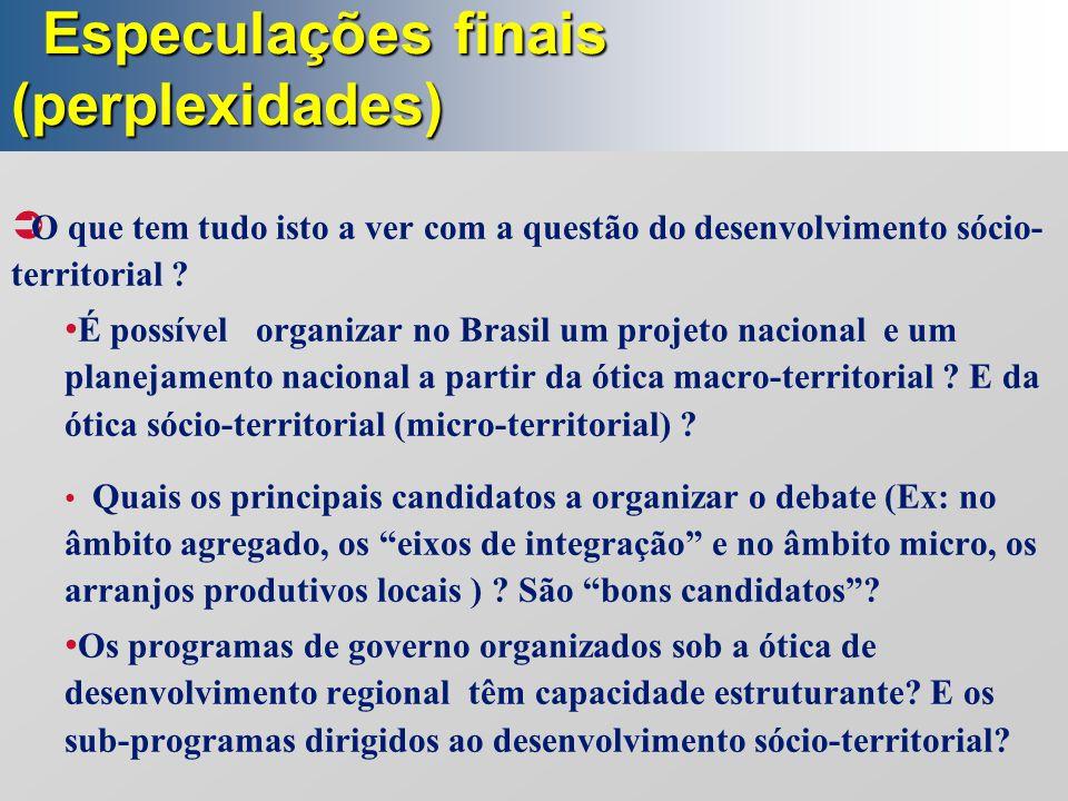 Especulações finais (perplexidades) Especulações finais (perplexidades)  O que tem tudo isto a ver com a questão do desenvolvimento sócio- territoria