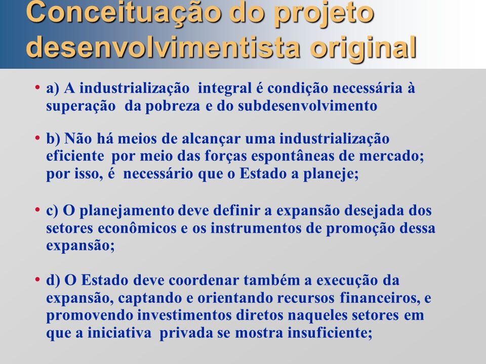 Conceituação do projeto desenvolvimentista original a) A industrialização integral é condição necessária à superação da pobreza e do subdesenvolviment