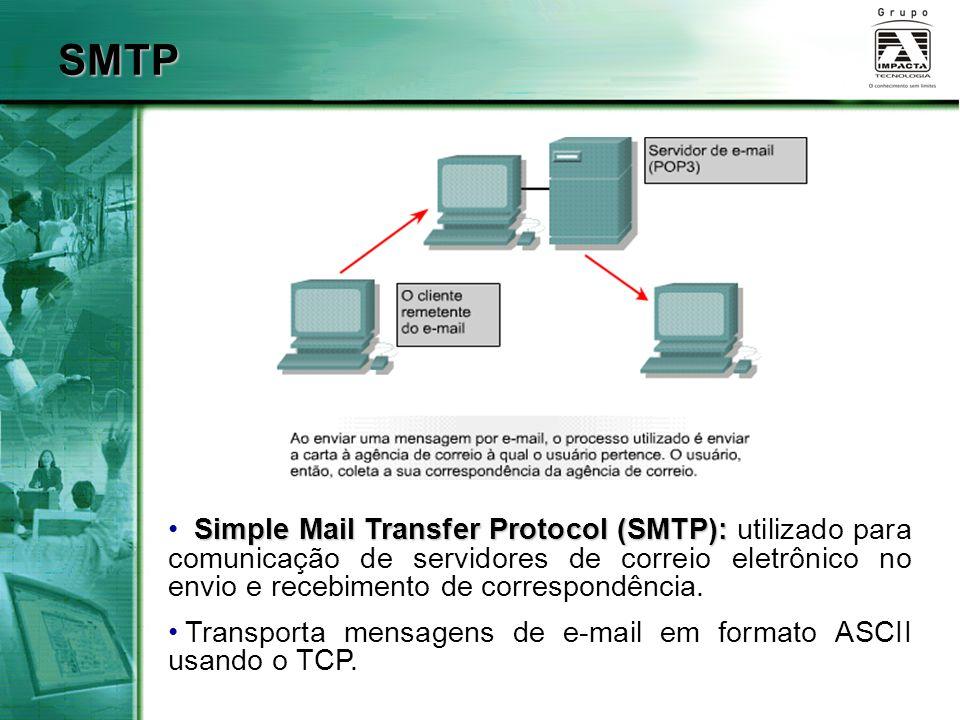 SMTP Simple Mail Transfer Protocol (SMTP): Simple Mail Transfer Protocol (SMTP): utilizado para comunicação de servidores de correio eletrônico no env