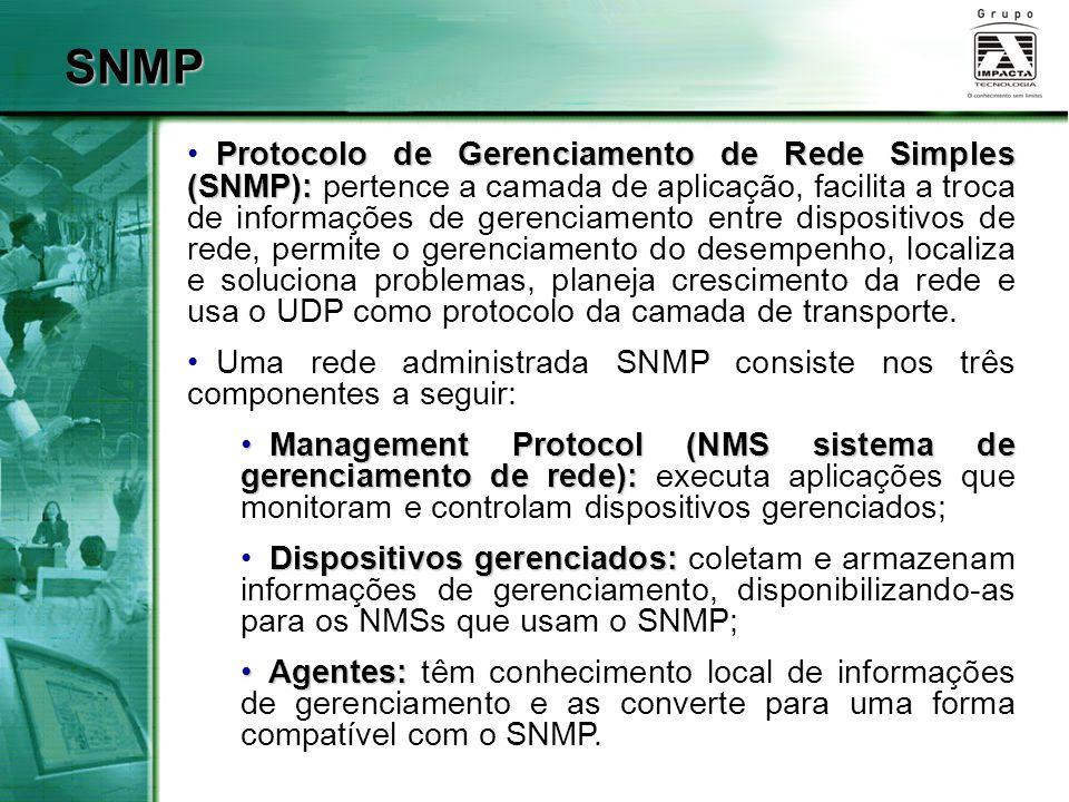 SNMP Protocolo de Gerenciamento de Rede Simples (SNMP): Protocolo de Gerenciamento de Rede Simples (SNMP): pertence a camada de aplicação, facilita a