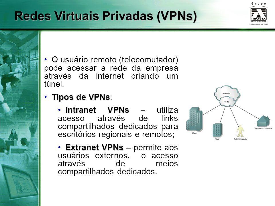O usuário remoto (telecomutador) pode acessar a rede da empresa através da internet criando um túnel. Tipos de VPNs Tipos de VPNs: Intranet VPNs Intra