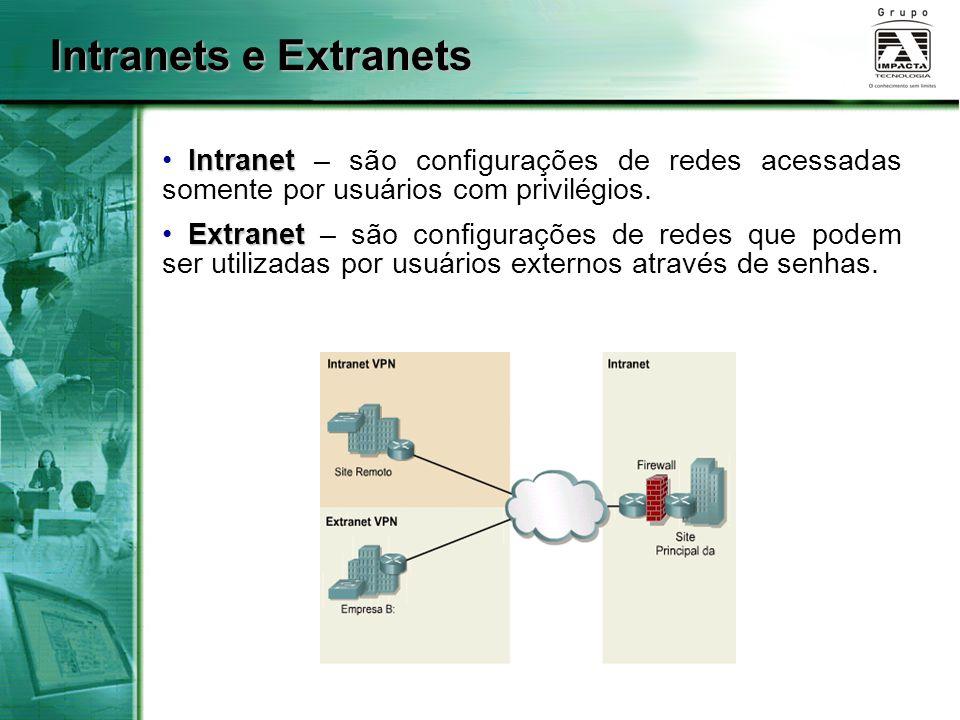 Intranet Intranet – são configurações de redes acessadas somente por usuários com privilégios. Extranet Extranet – são configurações de redes que pode