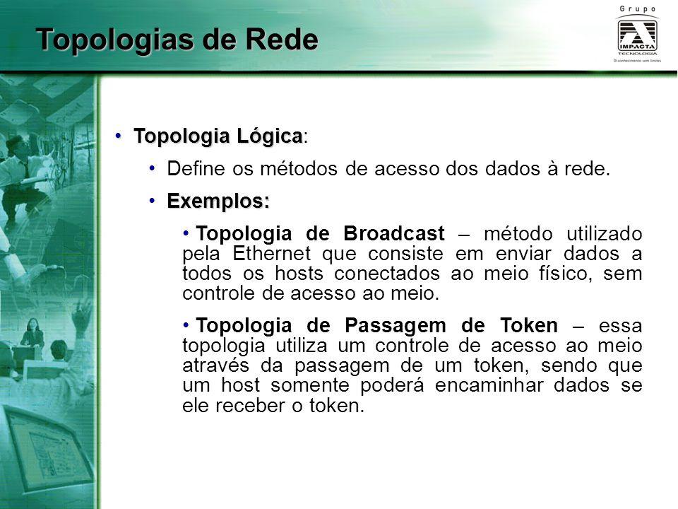 Topologia Lógica Topologia Lógica: Define os métodos de acesso dos dados à rede. Exemplos: Topologia de Broadcast – método utilizado pela Ethernet que
