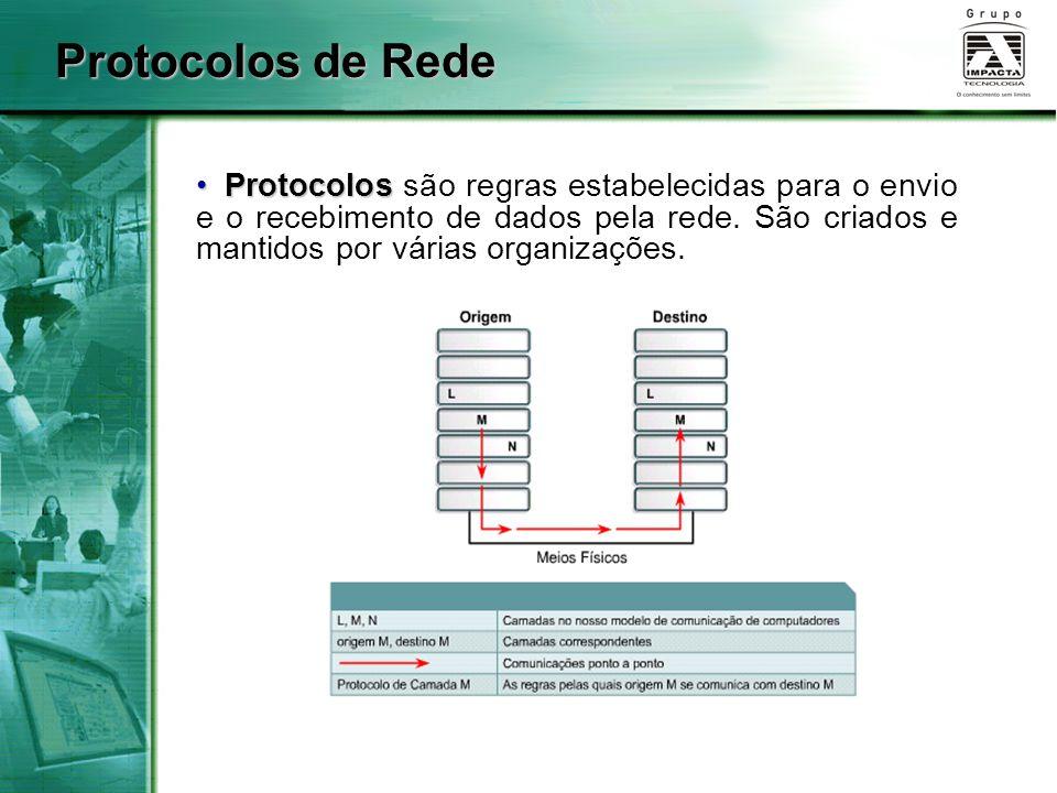 Protocolos Protocolos são regras estabelecidas para o envio e o recebimento de dados pela rede. São criados e mantidos por várias organizações. Protoc