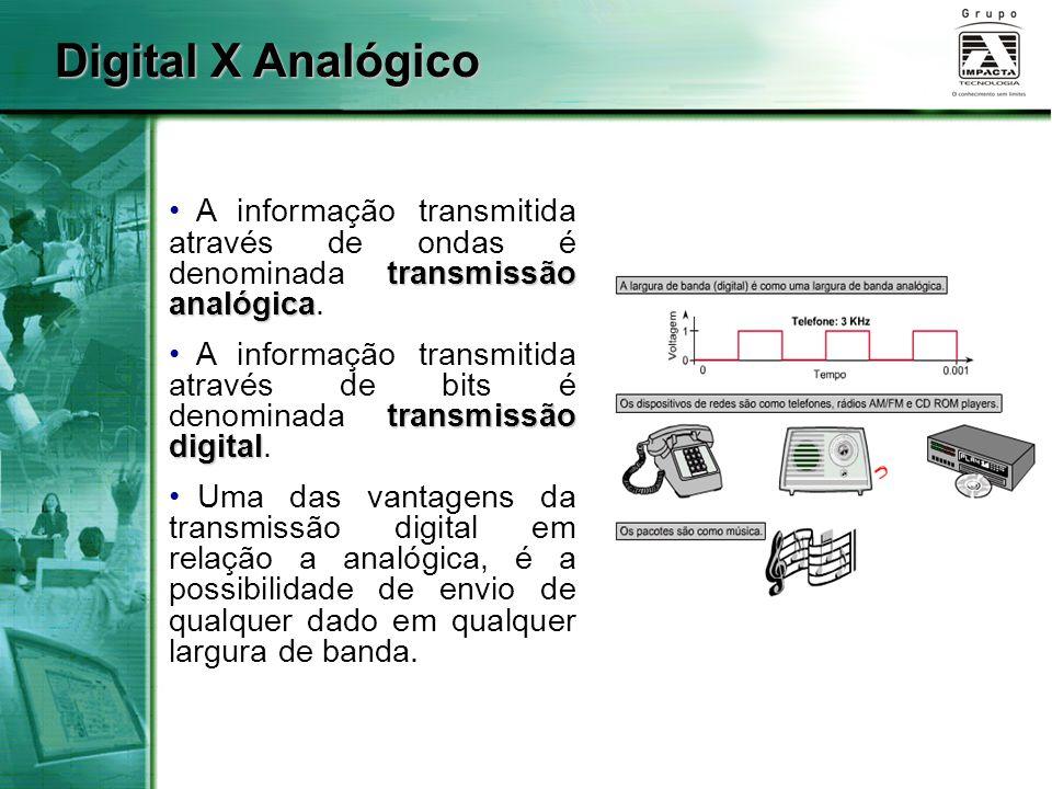 transmissão analógica A informação transmitida através de ondas é denominada transmissão analógica. transmissão digital A informação transmitida atrav