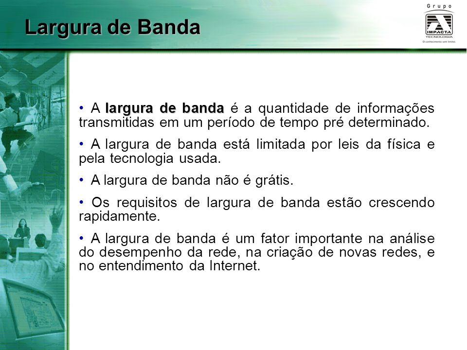 largura de banda A largura de banda é a quantidade de informações transmitidas em um período de tempo pré determinado. A largura de banda está limitad