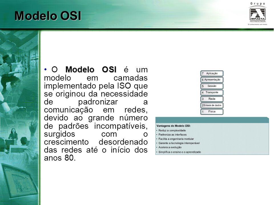 Modelo OSI O Modelo OSI é um modelo em camadas implementado pela ISO que se originou da necessidade de padronizar a comunicação em redes, devido ao gr