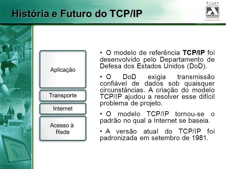 História e Futuro do TCP/IP TCP/IP O modelo de referência TCP/IP foi desenvolvido pelo Departamento de Defesa dos Estados Unidos (DoD). O DoD exigia t
