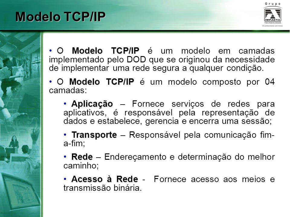 Modelo TCP/IP O Modelo TCP/IP é um modelo em camadas implementado pelo DOD que se originou da necessidade de implementar uma rede segura a qualquer co