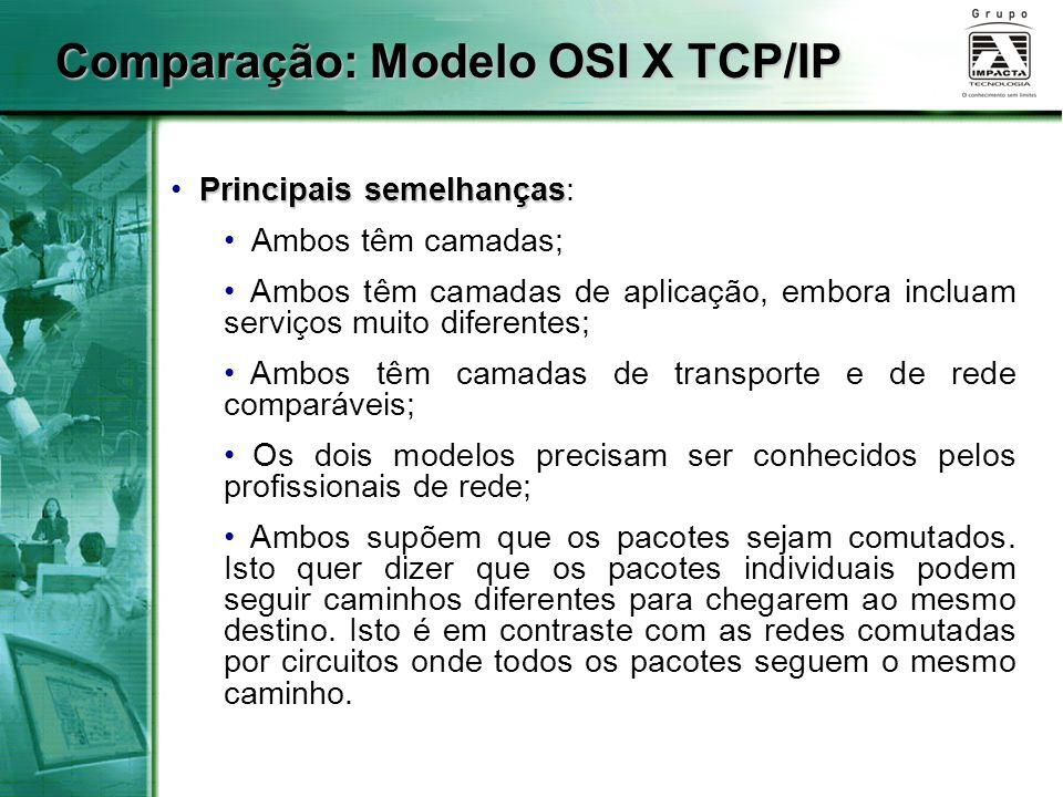 Comparação: Modelo OSI X TCP/IP Principais semelhanças Principais semelhanças: Ambos têm camadas; Ambos têm camadas de aplicação, embora incluam servi