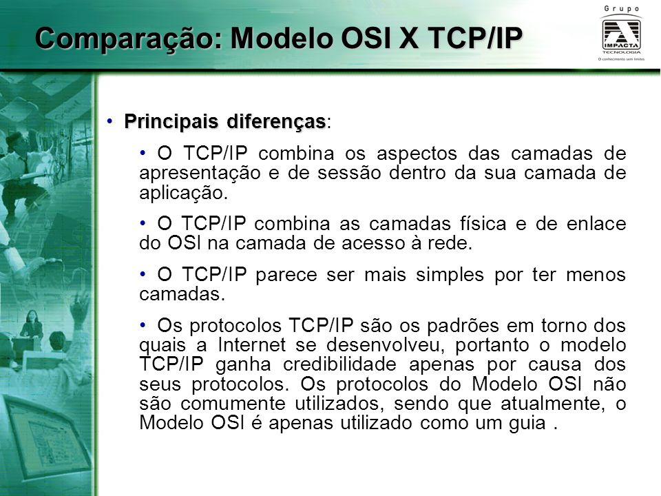 Comparação: Modelo OSI X TCP/IP Principais diferenças Principais diferenças: O TCP/IP combina os aspectos das camadas de apresentação e de sessão dent
