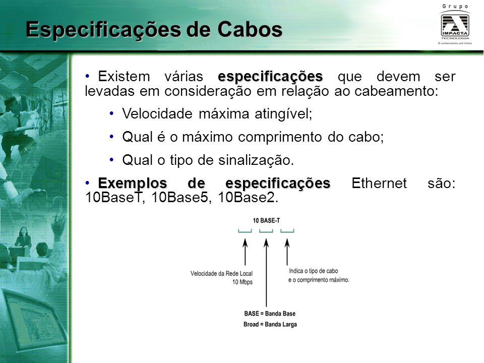 Especificações de Cabos especificações Existem várias especificações que devem ser levadas em consideração em relação ao cabeamento: Velocidade máxima