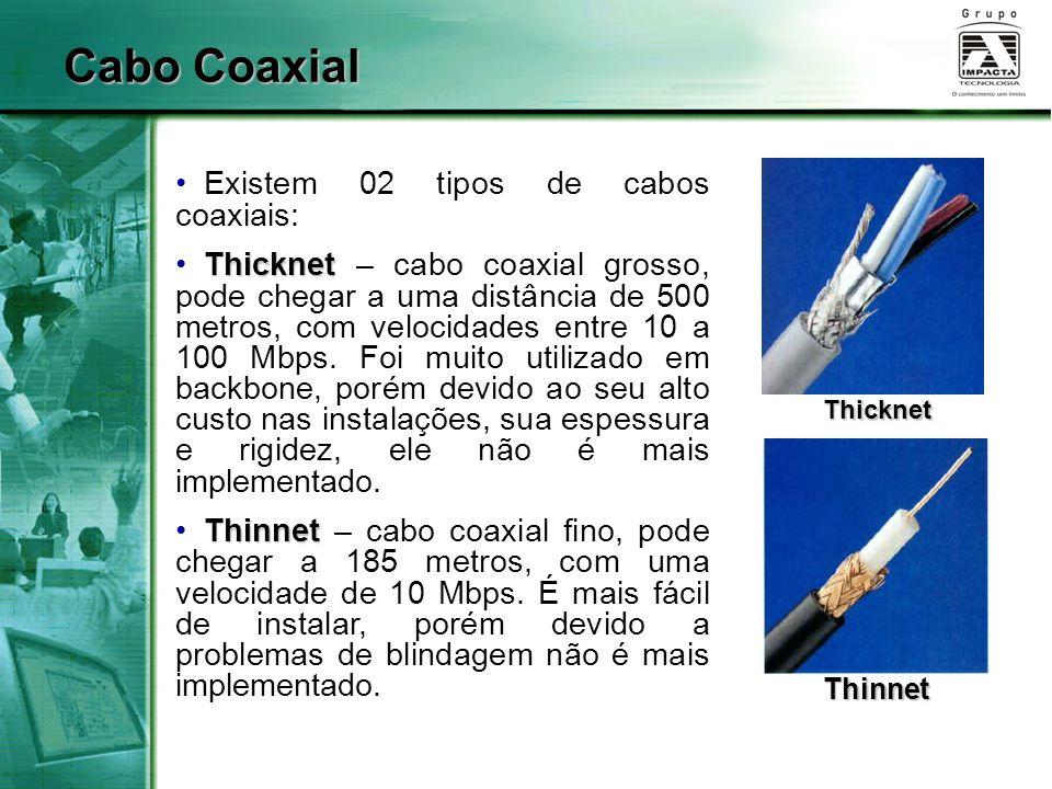 Cabo Coaxial Existem 02 tipos de cabos coaxiais: Thicknet Thicknet – cabo coaxial grosso, pode chegar a uma distância de 500 metros, com velocidades e