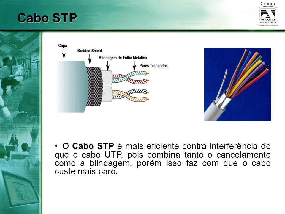 Cabo STP Cabo STP O Cabo STP é mais eficiente contra interferência do que o cabo UTP, pois combina tanto o cancelamento como a blindagem, porém isso f