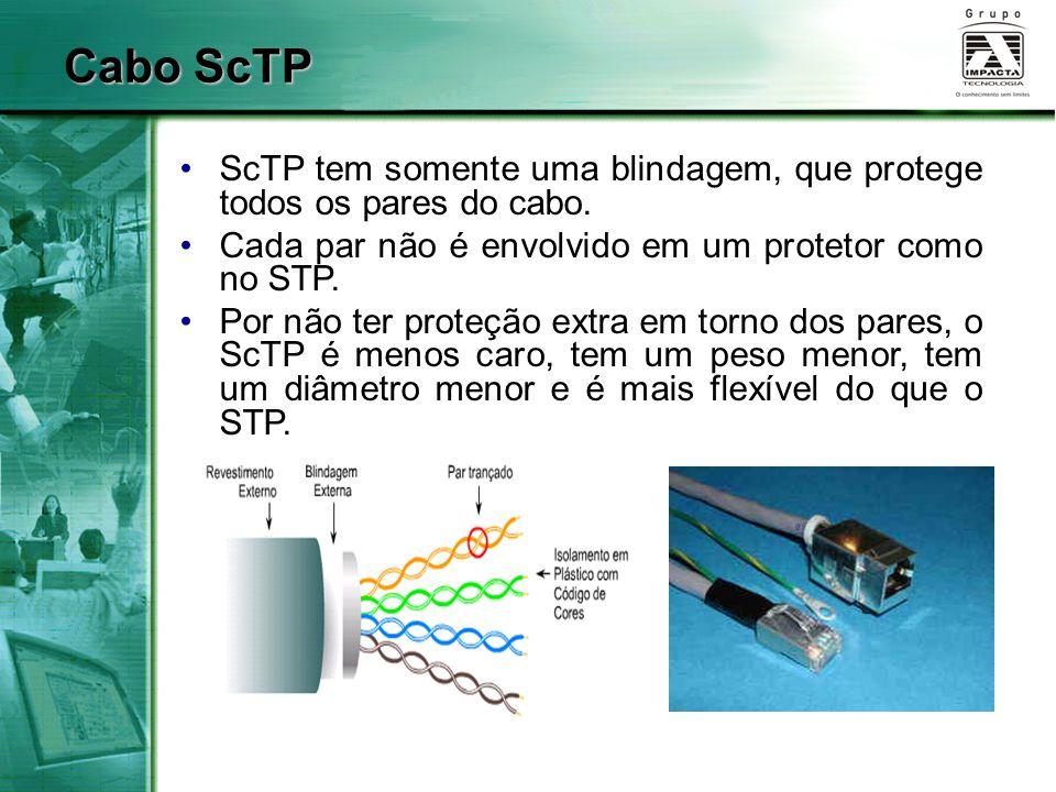Cabo ScTP ScTP tem somente uma blindagem, que protege todos os pares do cabo. Cada par não é envolvido em um protetor como no STP. Por não ter proteçã