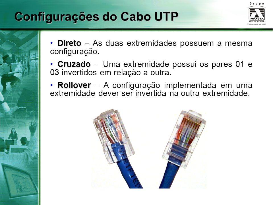 Configurações do Cabo UTP Direto Direto – As duas extremidades possuem a mesma configuração. Cruzado Cruzado - Uma extremidade possui os pares 01 e 03