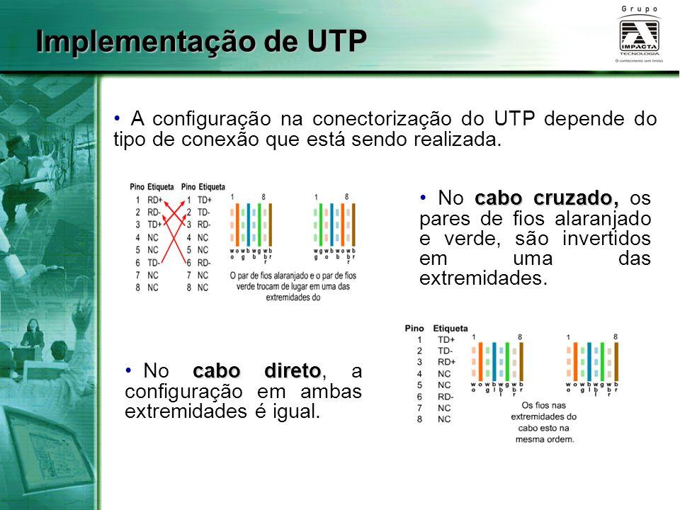 Implementação de UTP A configuração na conectorização do UTP depende do tipo de conexão que está sendo realizada. cabo cruzado, No cabo cruzado, os pa