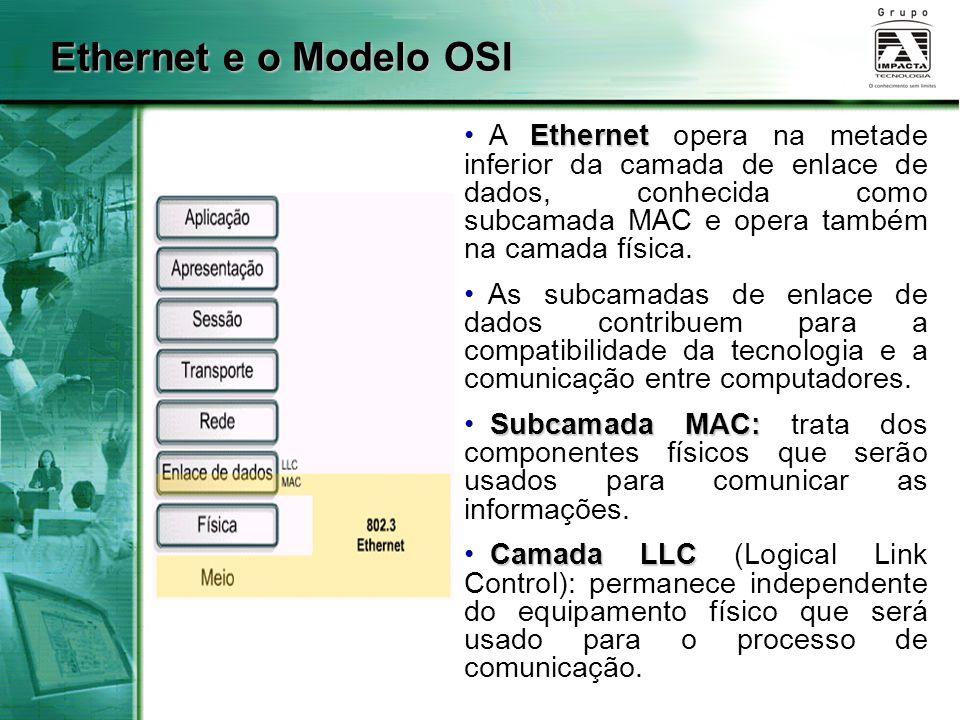Ethernet e o Modelo OSI Ethernet A Ethernet opera na metade inferior da camada de enlace de dados, conhecida como subcamada MAC e opera também na cama