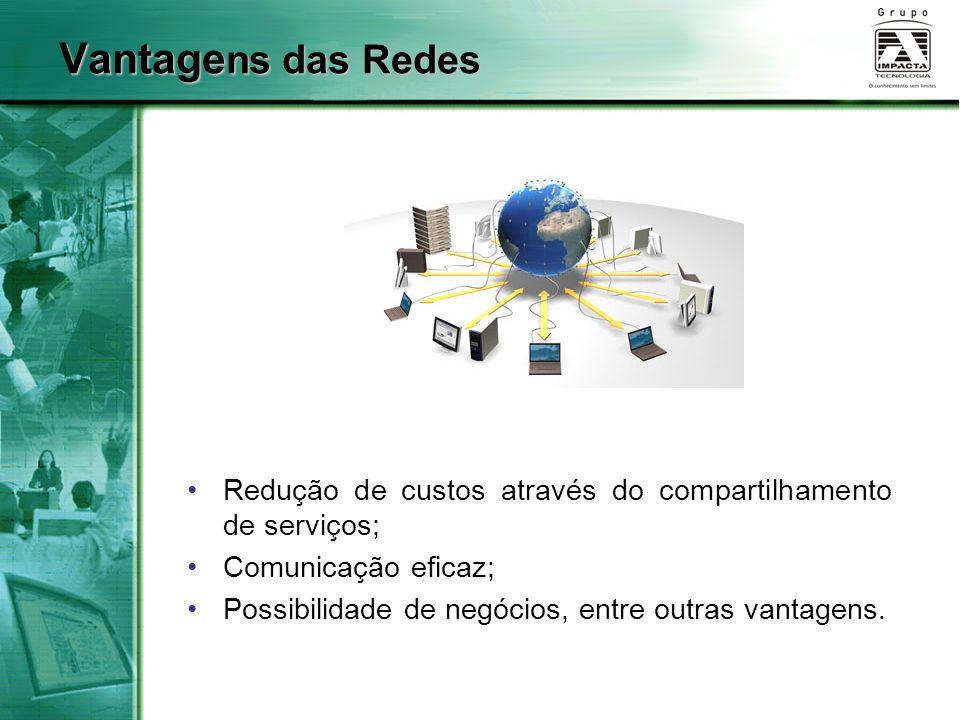 Vantage ns das Redes Redução de custos através do compartilhamento de serviços; Comunicação eficaz; Possibilidade de negócios, entre outras vantagens.