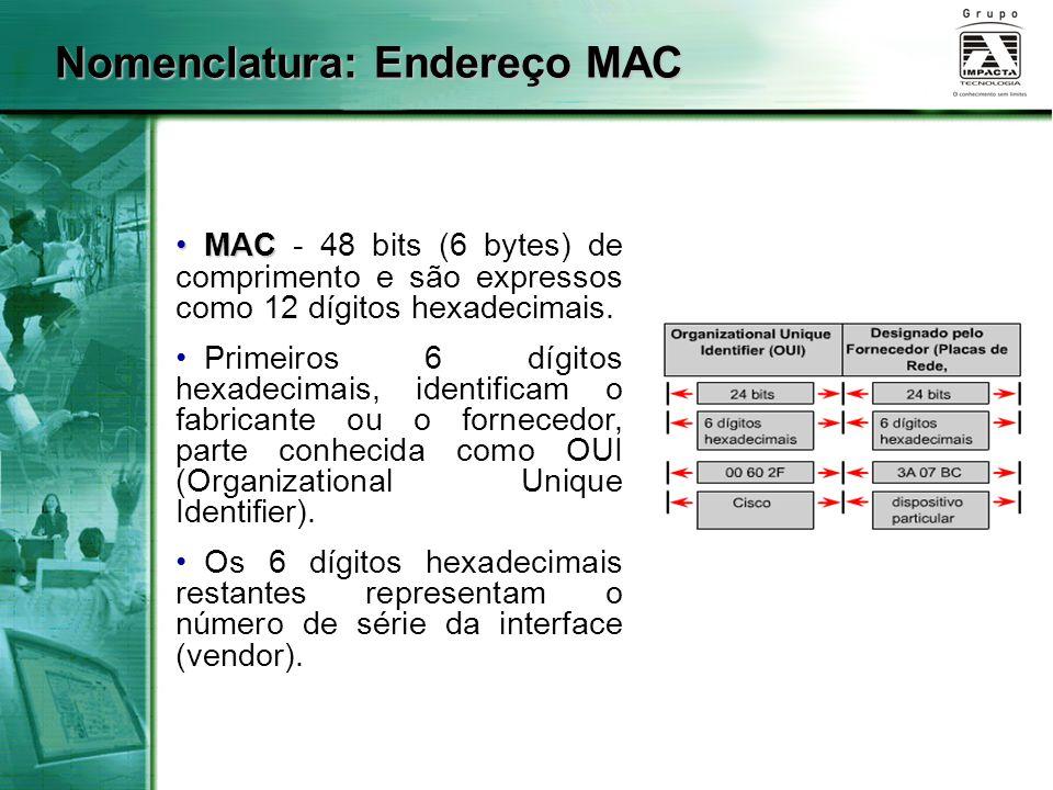 MAC MAC - 48 bits (6 bytes) de comprimento e são expressos como 12 dígitos hexadecimais. Primeiros 6 dígitos hexadecimais, identificam o fabricante ou