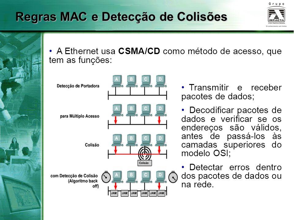 Regras MAC e Detecção de Colisões A Ethernet usa CSMA/CD como método de acesso, que tem as funções: Transmitir e receber pacotes de dados; Decodificar